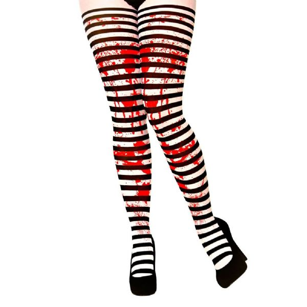 Adult Candystripe Black and White Tights with Blood